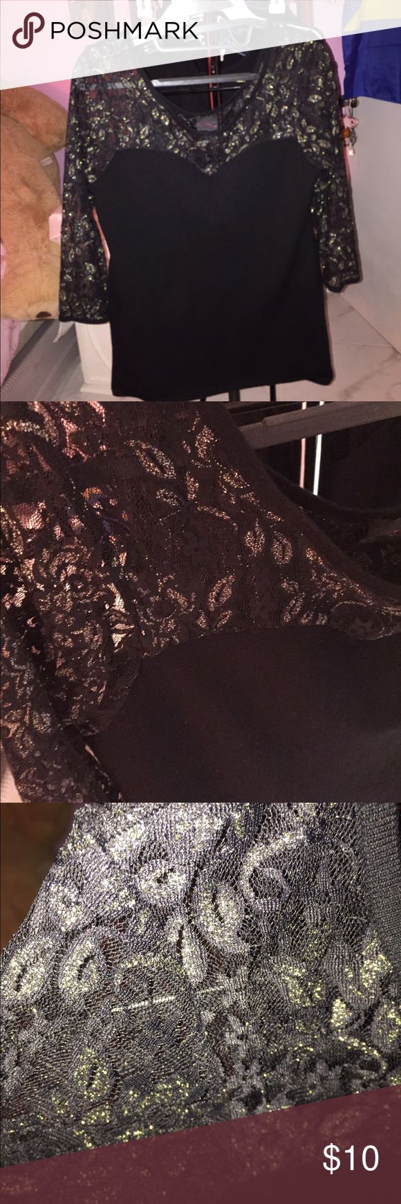 2b bebe black gold lace sweater top 3/4 sleeves, stretchy material except for lace portion 2b bebe Tops