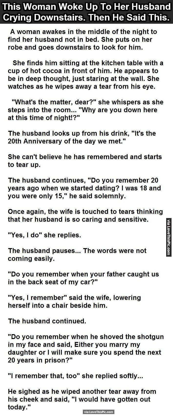 This Woman Woke Up To Her Husband Crying Downstairs. Then He Said This. funny jokes story lol funny quote funny quotes funny sayings joke hilarious humor stories marriage humor funny jokes best jokes ever best jokes