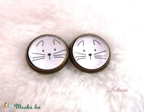 Cica Macska fülbevaló cicás macskás, Ékszer, óra, Fülbevaló, Ékszerkészítés, Meska