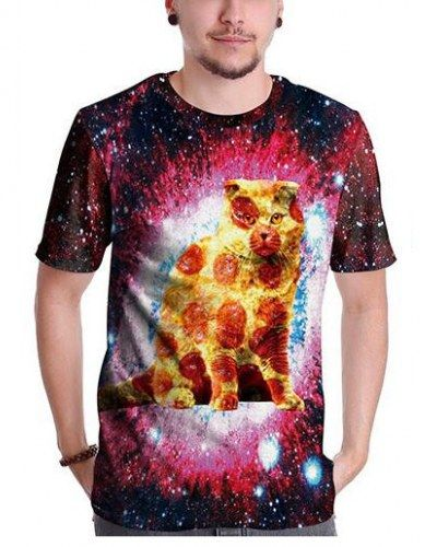Galaxy pizza cat 3d t shirt for unisex short sleeve