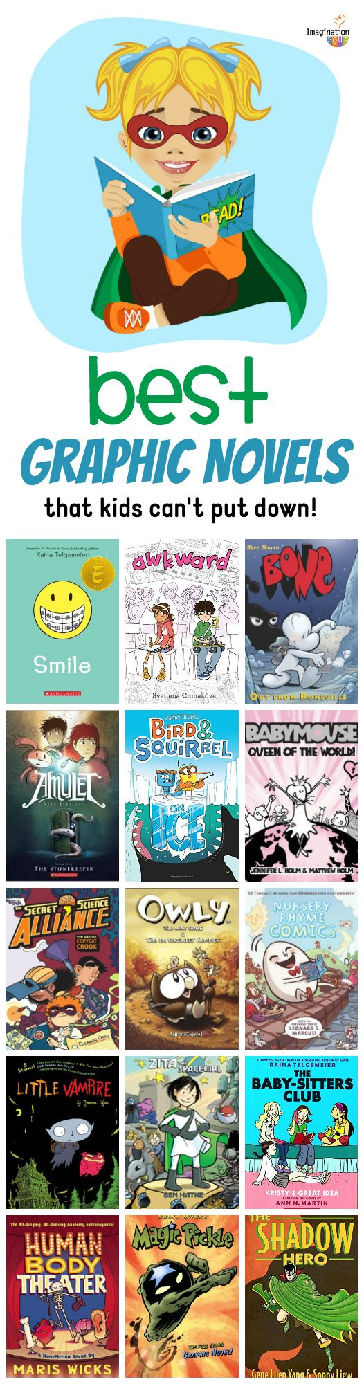 love this list of graphic novels and comics for kids!