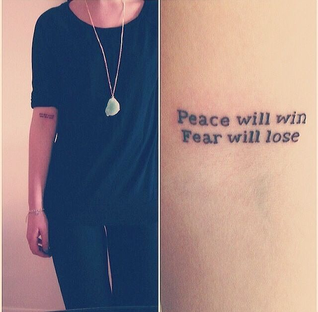 I relate to these words so much and they also motivate me to no end. Love the placement but I would separate it to put on both arms.