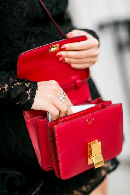 Red. Leather. Handbag.