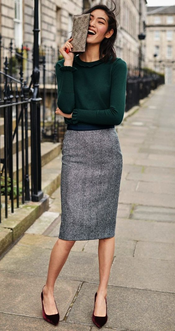 5c8583263c3 Hunter Green Sweater   Tweed Pencil Skirt.