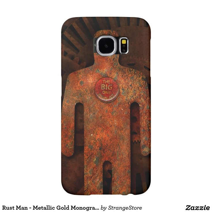 Rust Man - Metallic Gold Monogram Super Hero Samsung Galaxy 6 phone case from #StrangeStore