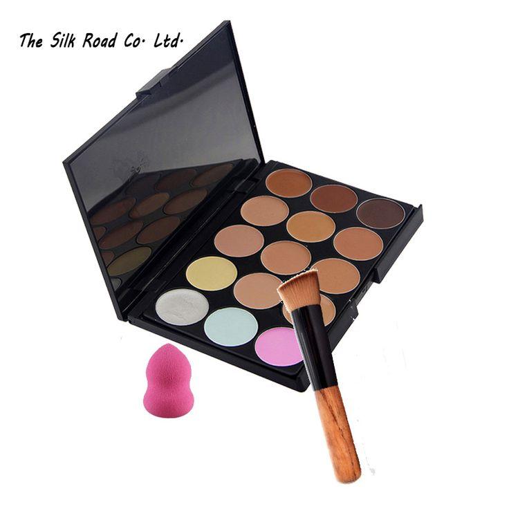 Crema de Maquillaje Conjunto de pincel maquiagem pincéis Pincel de Esponja Del Soplo de Polvo Corrector Paleta de Agua 15 Colores