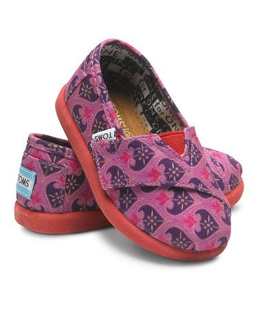 Take a look at this Pink & Purple Heart Damask Classics - Tiny by TOMS on #zulily today!
