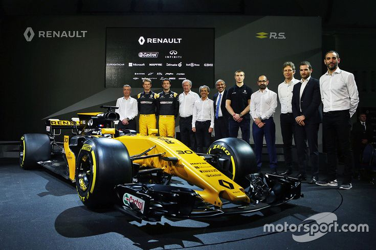(L to R): Bob Bell, Renault Sport F1 Team Chief Technical Officer; Nico Hulkenberg, Renault Sport F1 Team; Jolyon Palmer, Renault Sport F1 Team; Jerome Stoll, Renault Sport F1 President; Alain Prost, Renault Sport F1 Team Third Driver; Thierry Koskas, Renault Executive Vice President of Sales and Marketing; Pepijn Richter, Microsoft Director of Product Marketing; Tommaso Volpe, Infiniti Global Director of Motorsport; Cyril Abiteboul, Renault Sport F1 Managing Director, and the Renault Sport…