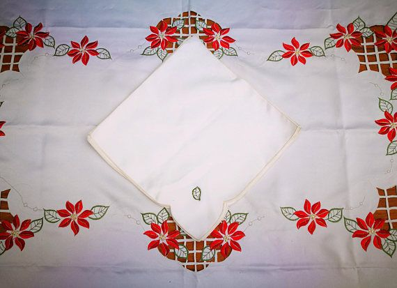 LARGE Christmas Tablecloth with Matching Napkins. Large