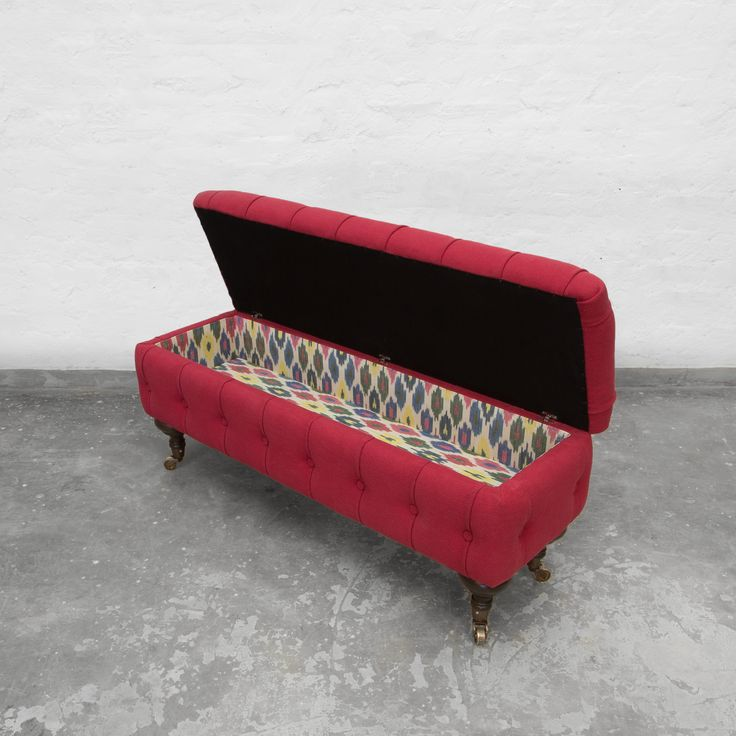 Always intended to be a freestanding and movable form, built from a kiln hardwood frame, high density foam, and sofa legs this bench would be perfect at the end of a bed or as additional seating shared between your living and dining spaces.  http://www.gulmoharlane.com/products/elma-tufted-storage-bench-1