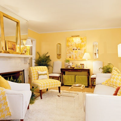 Another yellow living room.