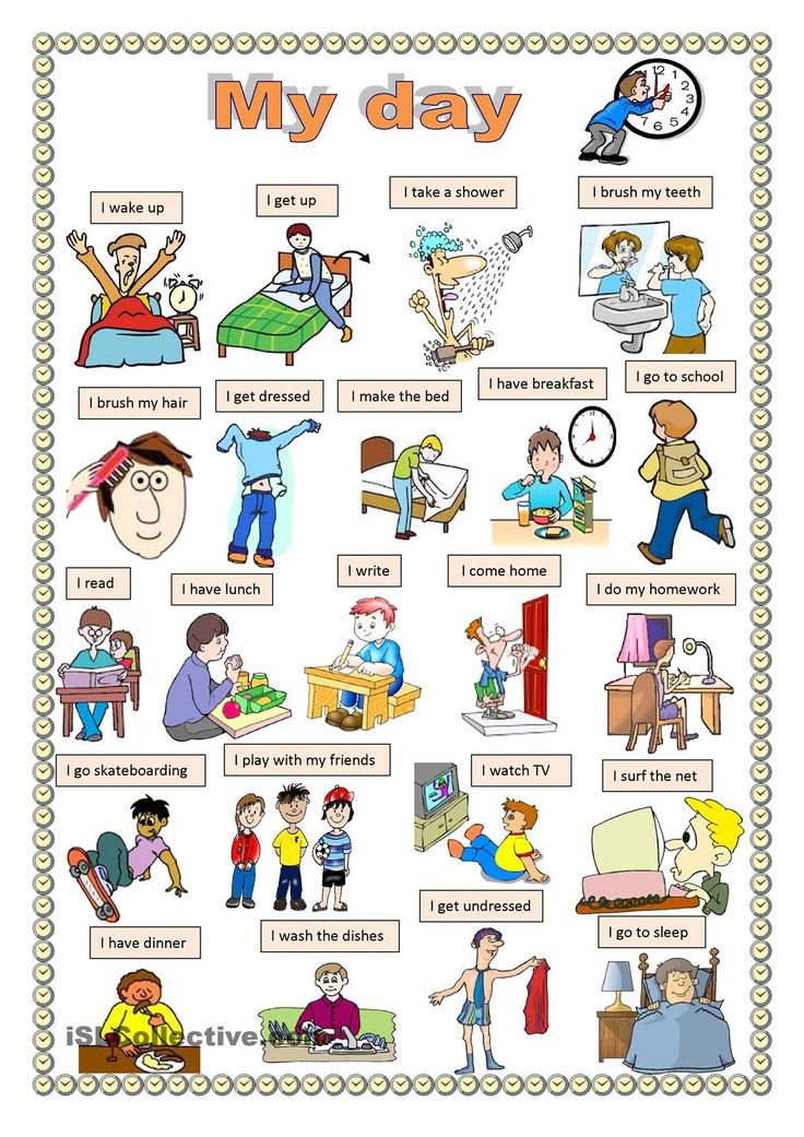 My day. worksheet - Free ESL printable worksheets made by teachers - and I'm a teacher ;)