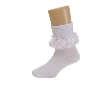 So like I have been looking for frilly edged socks for ages, but I couldnt find any, so I bought white socks from Primarks and added ruffled lace to the edges... all i can say is that they look fab. Better than this pic