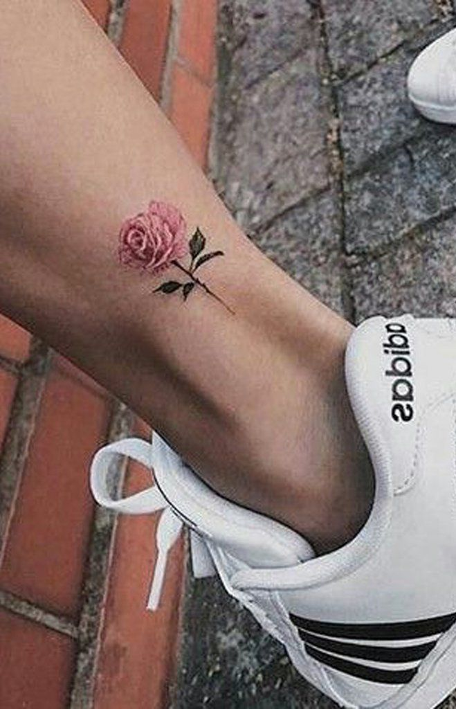 Ankle Female Small Rose Tattoo