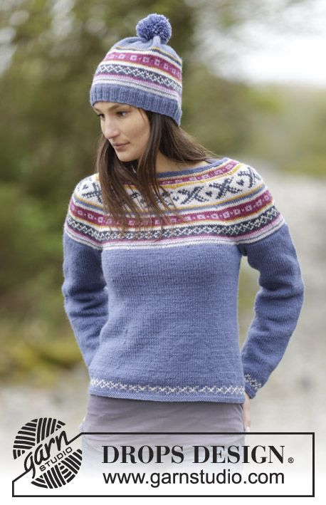 #DROPSDesign jumper with round yoke and hat with Norwegian pattern. Free #knitting pattern online #aw1516