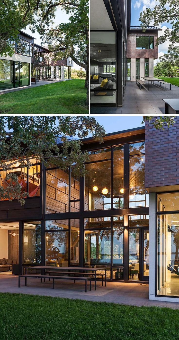 This industrial modern house has been designed to promote the outdoors and active lifestyle of the family, and the interior of the house opens up to an outdoor dining space and lounge area. #IndustrialModern #OutdoorDining #Windows