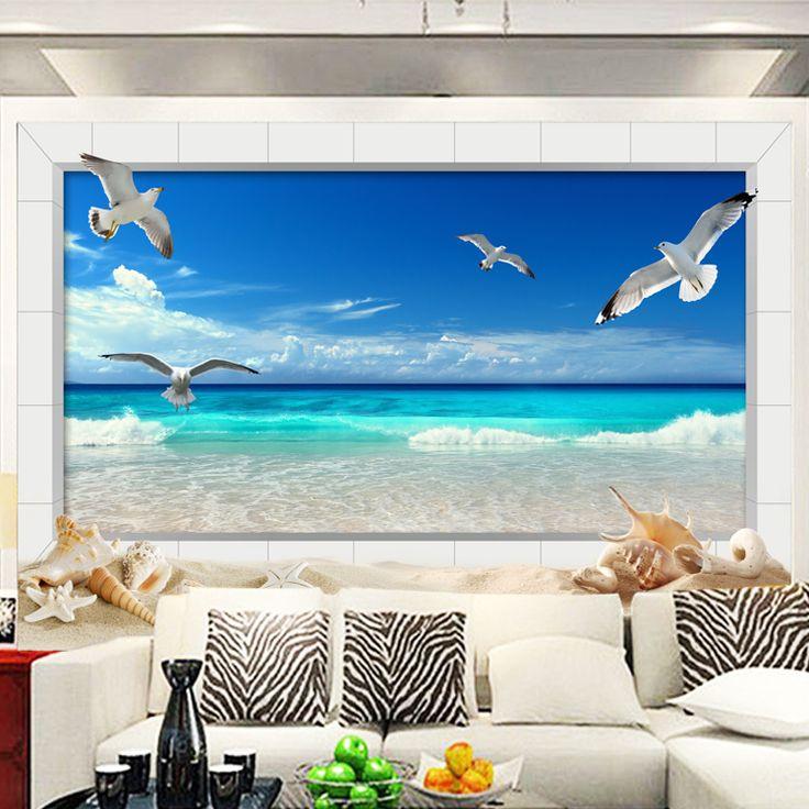 custom photo wallpaper Mediterranean wallpaper  European seagull landscape mural sofa TV background wallpaper  #Affiliate