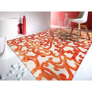 Shop for Hand-tufted Constantine White Orange New Zealand Wool Rug (5' x 8'). Get free shipping at Overstock.com - Your Online Home Decor Outlet Store! Get 5% in rewards with Club O! - 18475379
