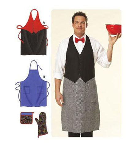 Aprons, Oven Mitt, Pot Holder (style perfect for upscaling the BBQing male)