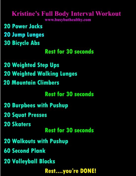 Kristine's Full Body Interval Workout challenge