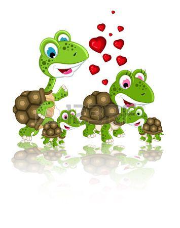famille heureuse de bande dessinée de tortue Banque d'images