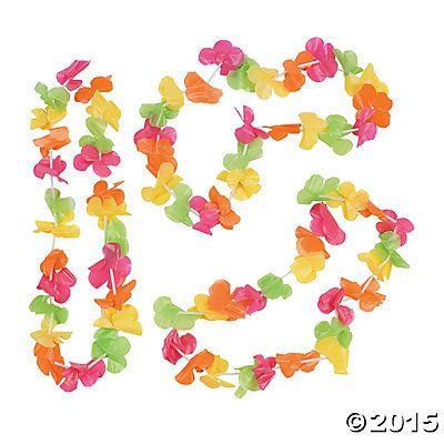 Bright Neon Plastic Leis – 12 Pc