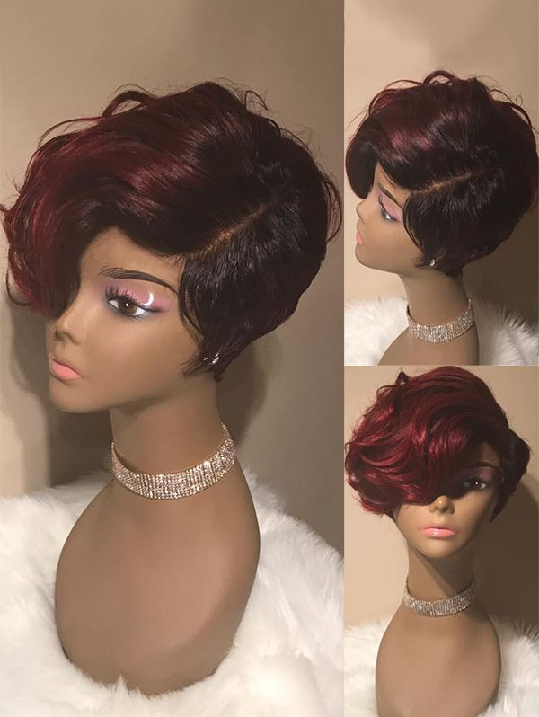 Short Side Parting Wavy Colormix Synthetic Wig Short Hair Wigs Short Hair Styles Hair Styles