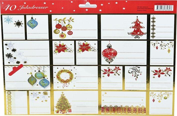 Juletiketter, , flera utföranden 40-pack, 3106967, juldekorationer, julpynt, vitt, rött, vit, röd, julklappsetiketter, julgranskulor, juletiketter, julgranar, julstjärnor