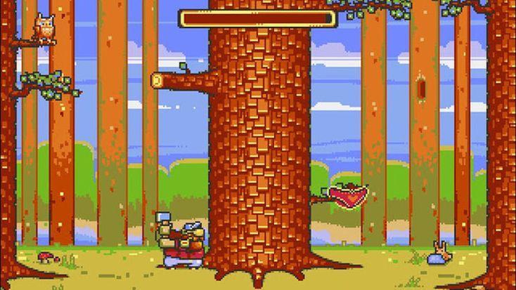 """Wcześniej na C64, a teraz także na Amidze można zostać """"szybkim drwalem"""". Lumberjack Reloaded (do pobrania plik z obrazem ADF) to nowa zręcznościówka na klasyka do której grafikę popełnił Koyot1222/PR3D."""