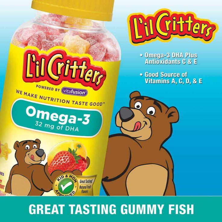 Омега-3 жирные кислоты для детей L'il Critters Gummy Fish, 180т – Shopping TEMA L'il Critters Omega-3 DHA, 180 Gummy Fish Омега-3 жирные кислоты для детей L'il Critters Gummy Fish, 180 жевательных конфет  Теперь дети могут принимать Омега-3 в виде жевательных конфет. Омега-3 жирные кислоты играют важную роль в общем здоровье ребенка, однако рацион большинства детей не включает достаточное количество продуктов, содержащих это важное питательное вещество.