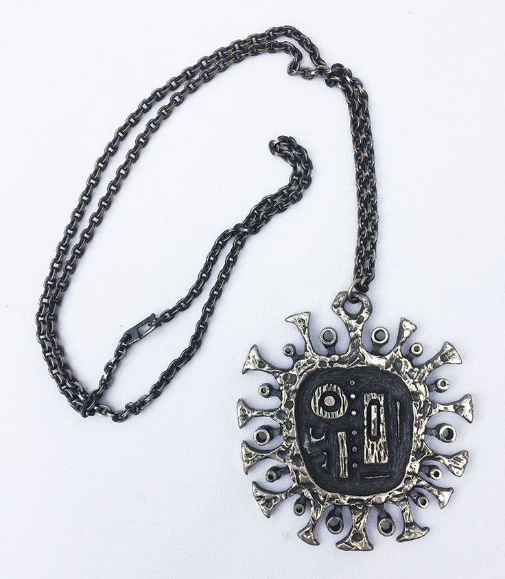 Gilles Guy Vidal (CA), vintage modernist pewter necklace. #canada | peculiarjewelry.com