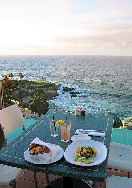 If you ever find yourself in San Diego, visit La Jolla and have a meal at George's on the Cove. It is like dining on top of the Pacific. Beautiful.