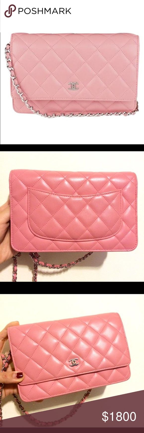 """Chanel Wallet On Chain Quilted Lambskin Bag ❗️❗️ On Sale ❗️❗️ Chanel Wallet On Chain Quilted Lambskin Woc Rose Cross Body Bag Size 7.5""""L x 1.5""""H x 5""""W 100% authentic or your money back guaranteed. Cheaper out of posh due to high fees, cheaper through PayPal, email me at luxurydesigners12 yahoo com CHANEL Bags Crossbody Bags"""