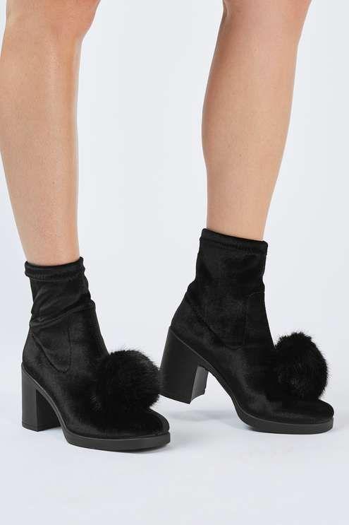 Black velvet ankle boots with pom detail. #Topshop