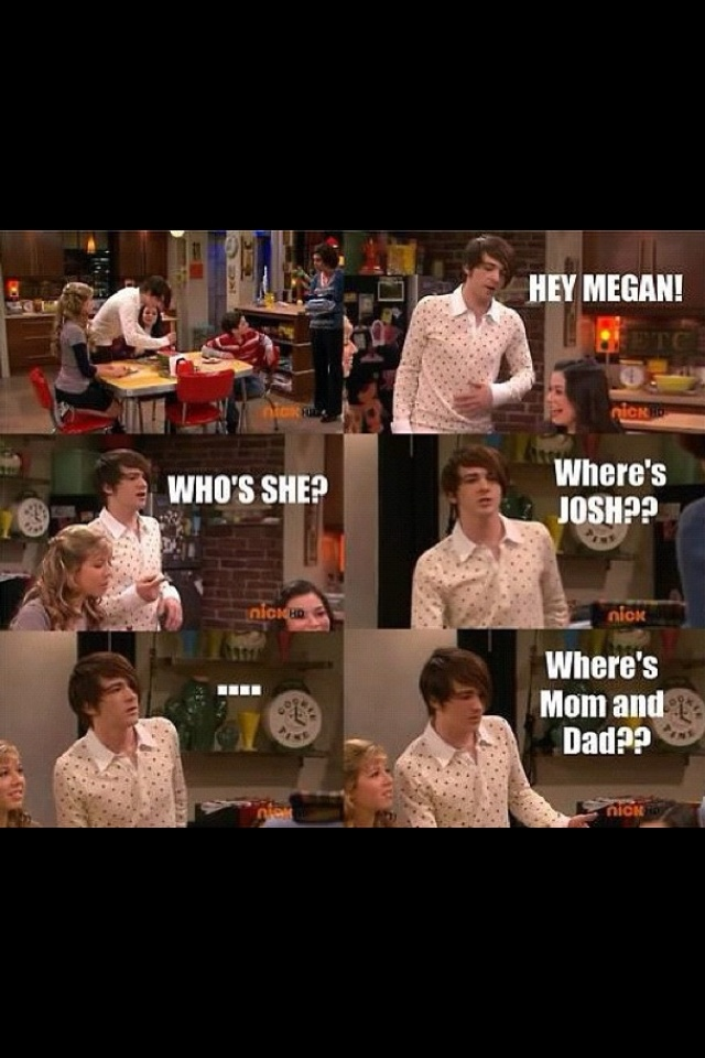 For those who dont know...the guy is from drake and josh, he walks on the set of icarly where he thinks carly is playing the role of his little sister megan. Then he realises he is on the wrong set.