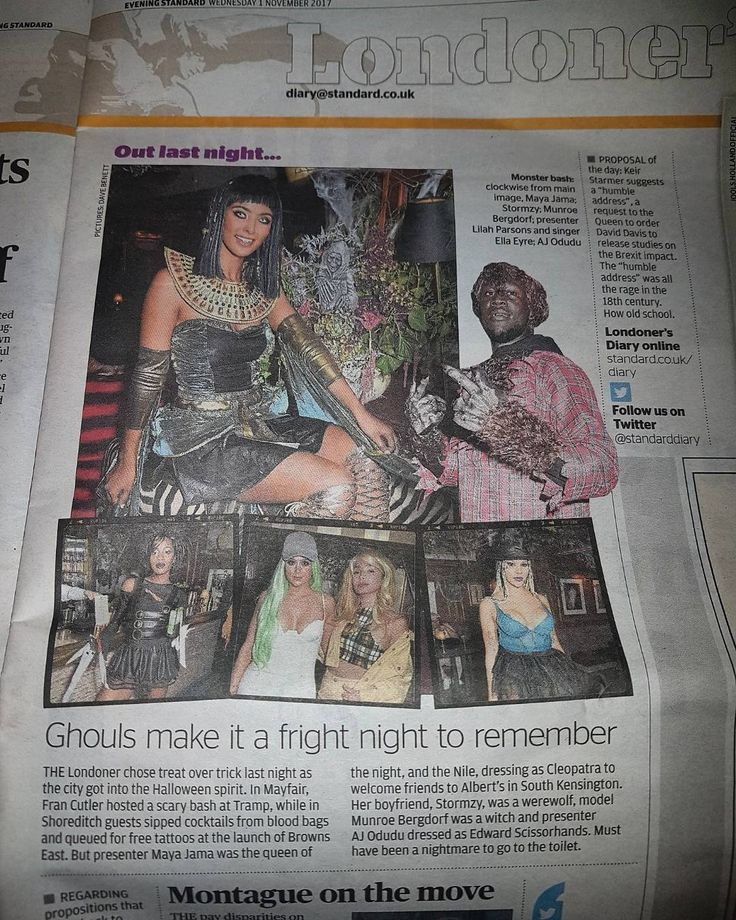 Thank you @evening.standard and to @stormzyofficial and @mayajama. Awesome Halloween party !! . . . . #albertsclub #alberts #stormzy #stormzyofficial #mayajama  #halloween #halloweencostume #halloween2017 #membersclub00