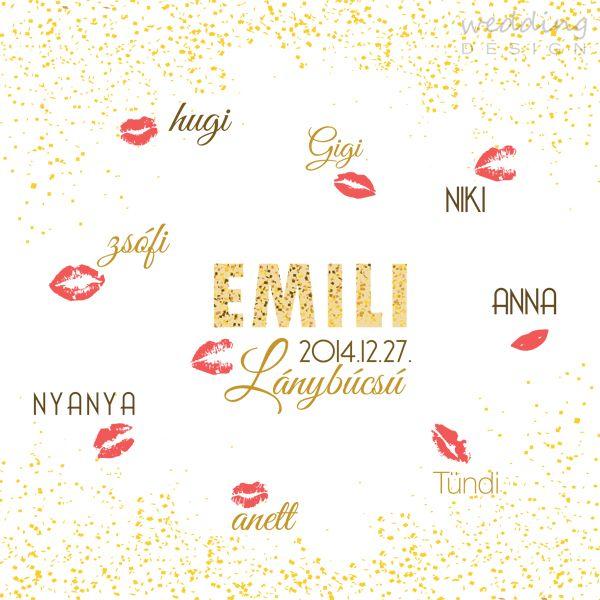 Poster for present with lipstick of the guest - Plakát a vendégek rúzsnyomával Graphic/Grafika: Wedding Design