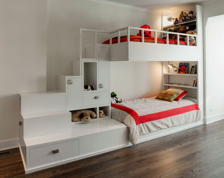Awesome bunk beds for a larger room. I would want the bottom to be a queen or full to accommodate lots of overnight guests.