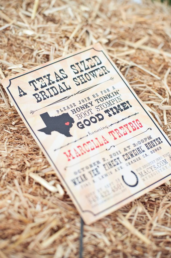 Texas Sized Bridal Shower - Cute idea especially if I were planning a bridal shower for myself!