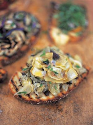 Baby Artichoke bruschetta  Basic bruschetta using traditional sourdough bread This simple bruschetta recipe is delicious and versatile – piled with beautiful veg you can't go wrong