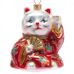 Attract good luck with a Beckoning Cat Ornament on your tree ;