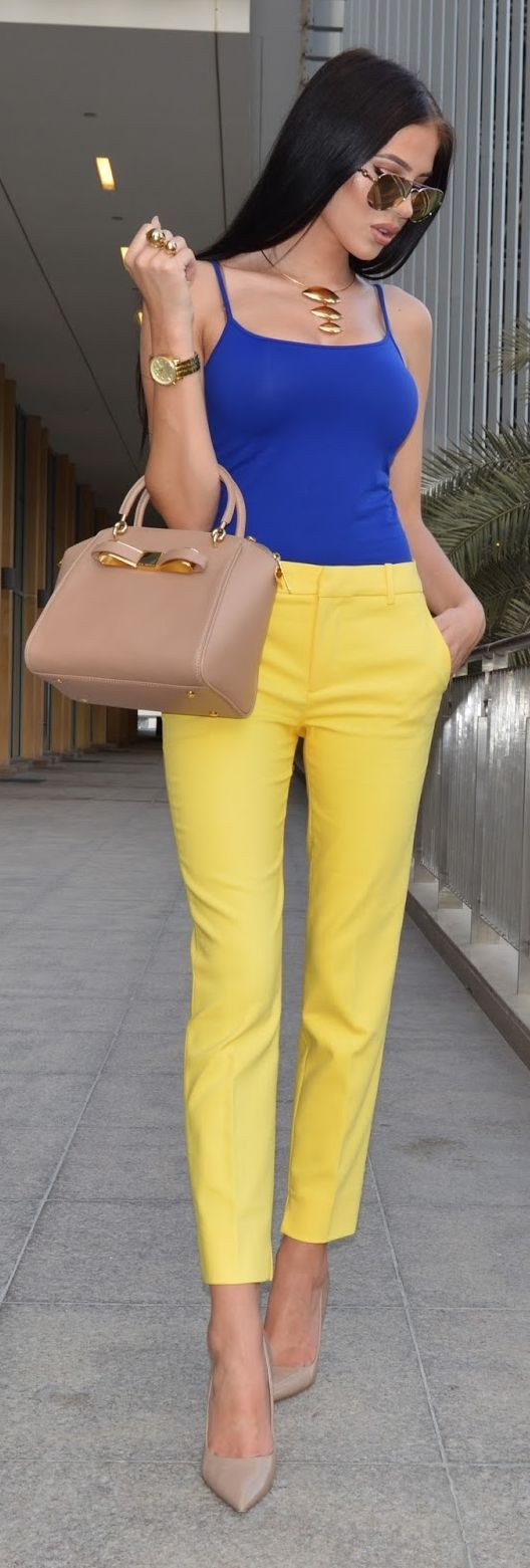Blue Cami Yellow Crop Pants by Laura Badura Fashion
