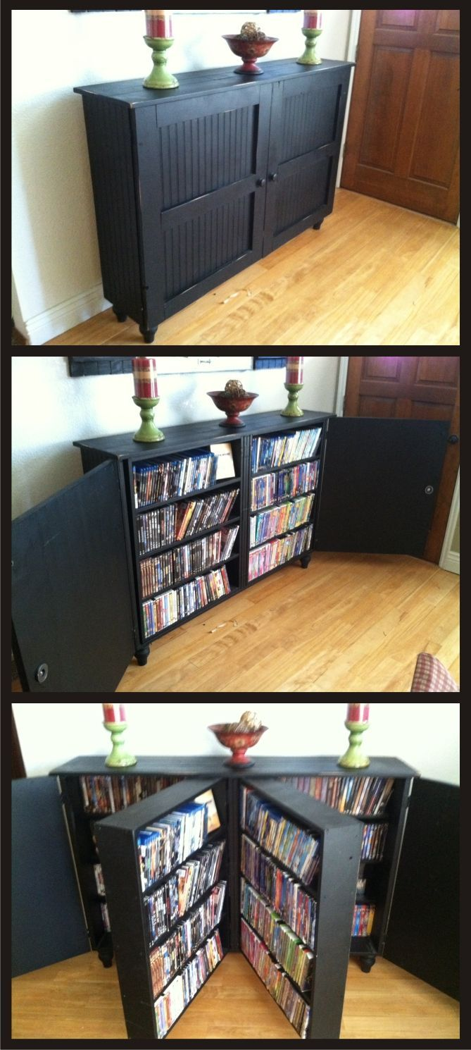 Custom built DVD cabinet. I was thinking it was a book shelf, but DVD's are cool too I suppose. | House ideas | Pinterest | Dvd Cabinets, Cabinets and Book