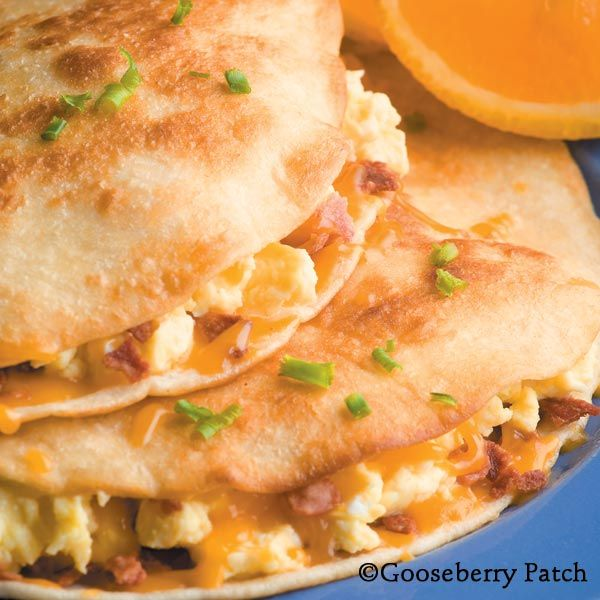 Gooseberry Patch Recipes: Egg & Bacon Quesadillas from 101 Easy Everyday Recipes Cookbook