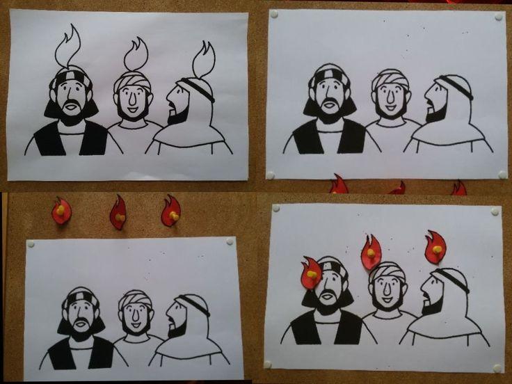 Spel bij les over Pinksteren: Prik de vlammen boven de hoofden van de apostelen. Game for lesson on Pentecost: Pin the flames on the heads of the apostles.
