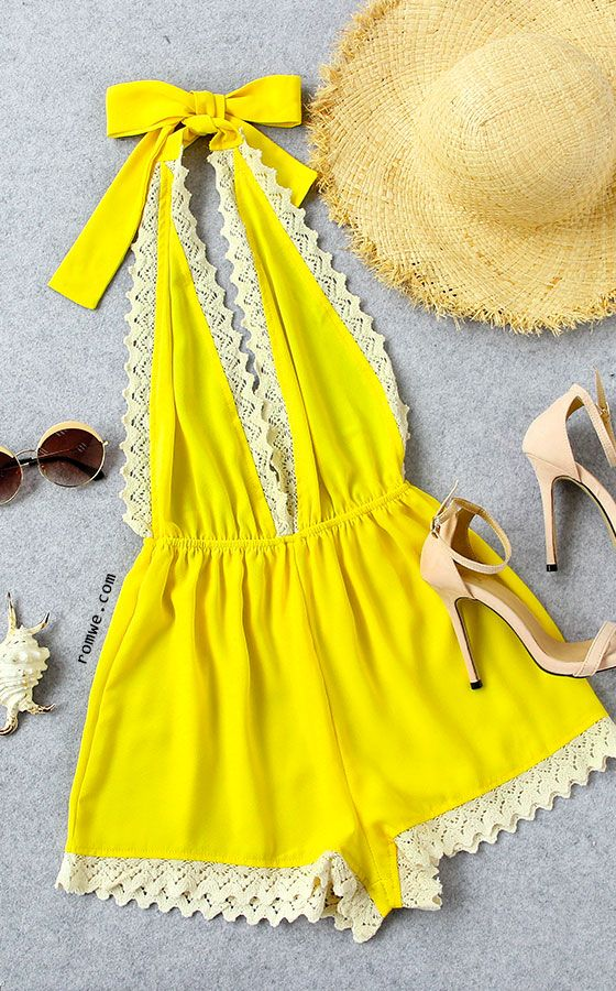 Lace Trimmed Plunge Halter Neck Backless Romper - Yellow