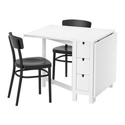 NORDEN / IDOLF, Table and 2 chairs, white, black