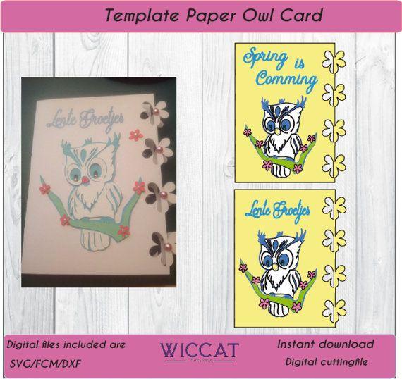 Uil kaart template Sjabloon kaart  uil kaart door WiccatDesign
