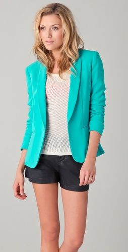 bright blue blazer by rag and bone - I may need to break the bank for this. it's too fab.