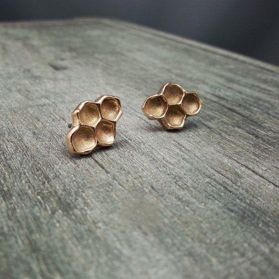 Studs bronze Rayons de Miel - Boucles d'oreilles - Rayons de miel bronze - Clous d'oreilles - Stainless steel - Miel - Abeilles - Nature